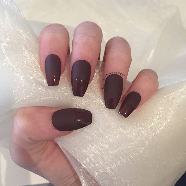 Matte and glossy half and half coffin false nails ($15) ❤ liked on ...