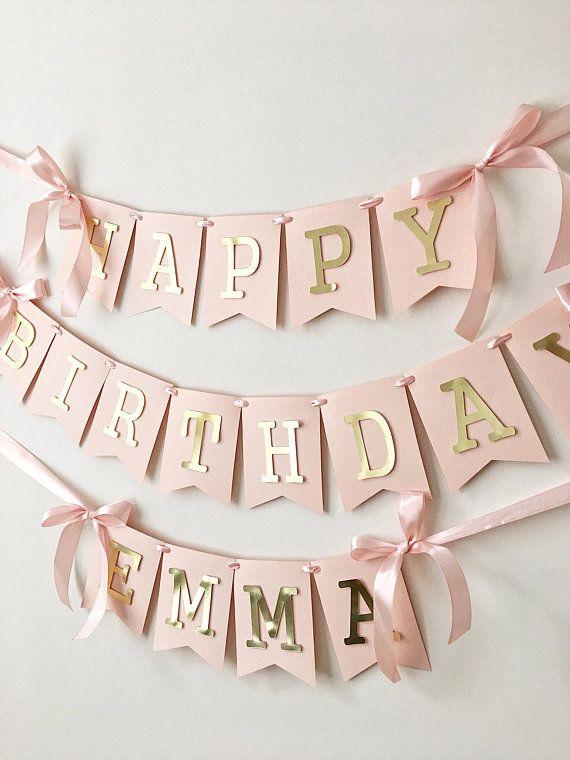 Blush Rose Gold Happy Birthday Banner Personalized Girl 1st Birthday Banner Custom Birthday Sign Birthday Decorations Birthday Photo Prop #21stbirthdaydecorations