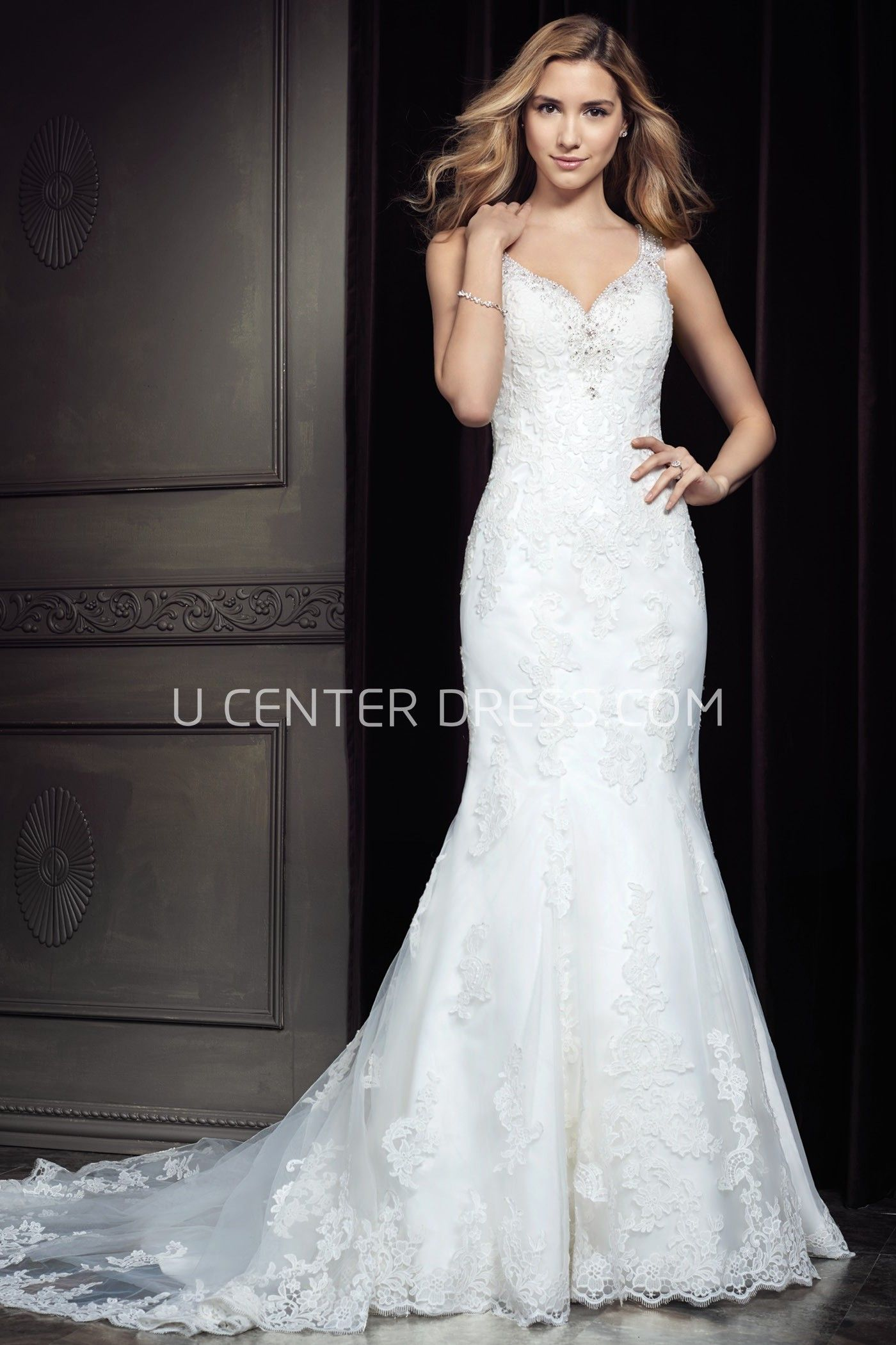Usamazing verna lace mermaid wedding dress with shoulder