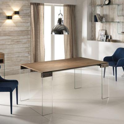 Tavolo allungabile con top in legno e gambe in vetro Alfred ...
