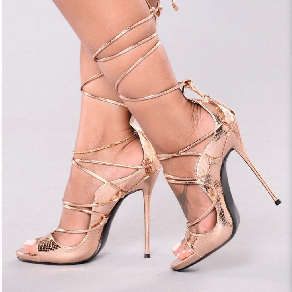 Fashion Nova Rose Gold Lace Up Heels