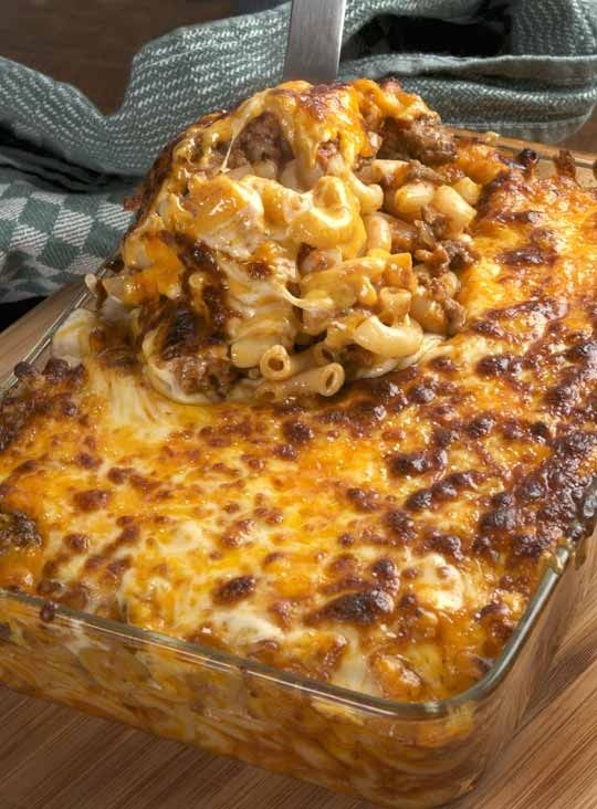 Macaroni and Beef with Cheese Bake Recipe    I  needed a dinner that was easy and delicious, would please everyone, one that also reheated well in case my daughter's track meet ran late, and I had to be able to make it long before serving so it would be just a matter of reheating come dinnertime.  There are of course a thousand options that fit t