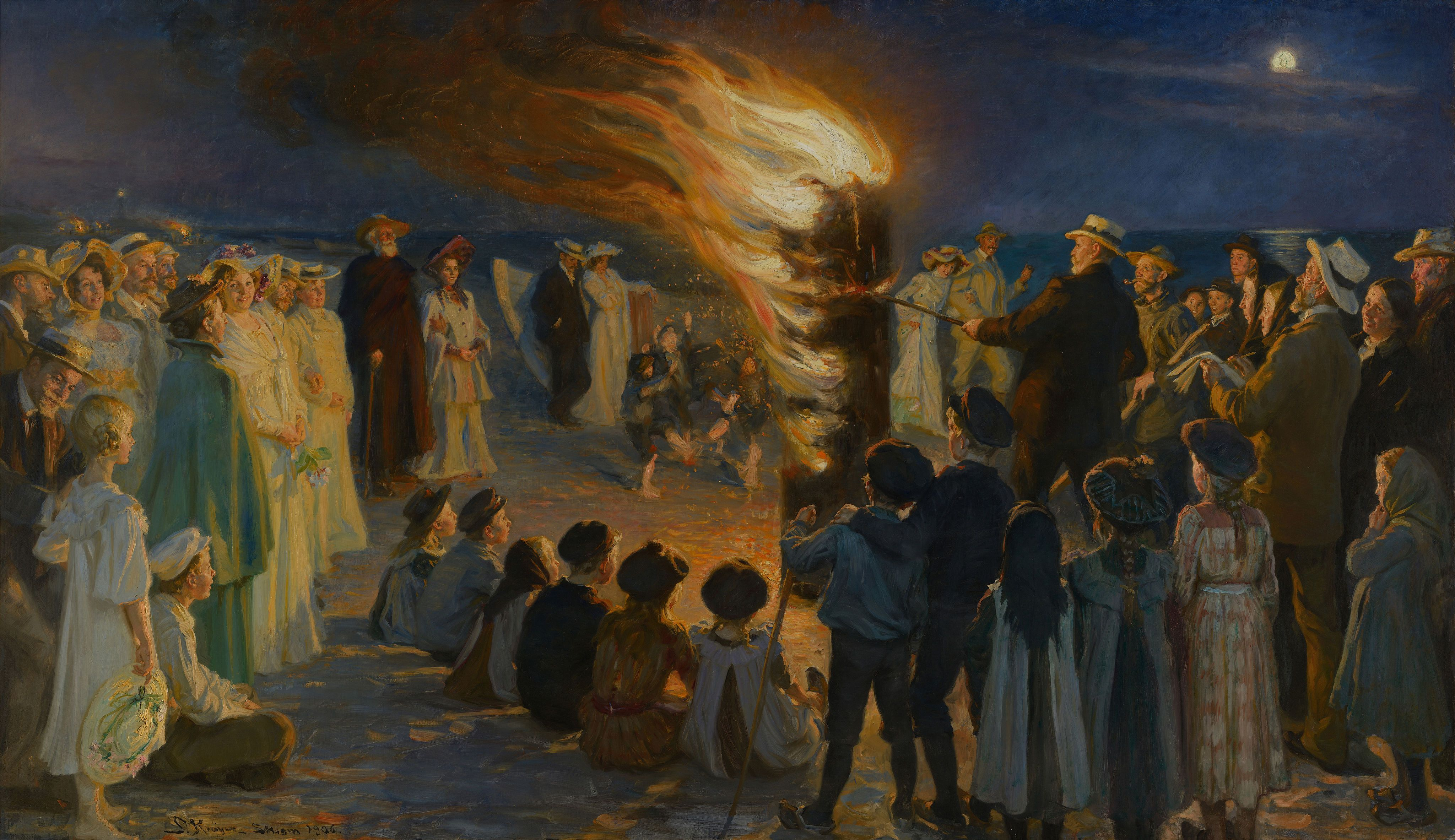 Peder Severin Krøyer (Norvegian-Danish 1851–1909) Midsummer Eve bonfire on Skagen's beach, 1906 Full res 16 MB https://upload.wikimedia.org/wikipedia/commons/9/99/Midsummer_Eve_bonfire_on_Skagen%27s_beach_-_P.S._Kr%C3%B8yer_-_Google_Cultural_Institute.jpg