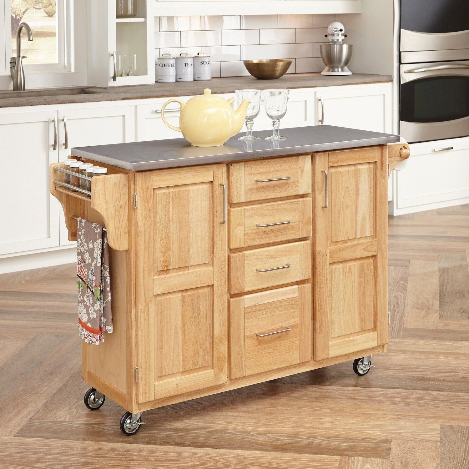 home styles kitchen island with stainless steel top reviews wayfair breakfast bar kitchen on kitchen island ideas kitchen bar carts id=22086