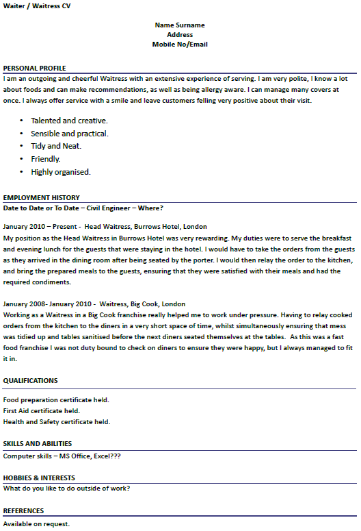 english cv waitress example