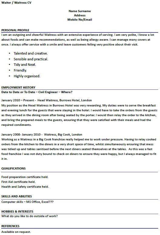 Modern Design Waitress Resume Example | Resume Example | Pinterest ...