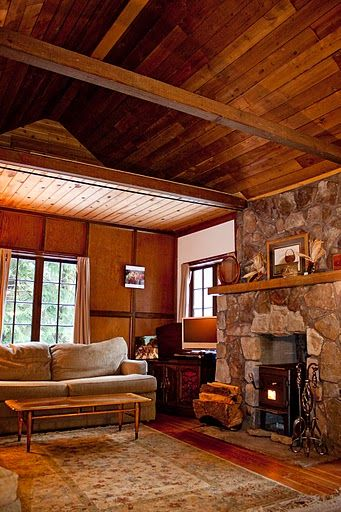 Tongue And Groove Ceiling Plywood Walls Vaulted Cedar Ceiling Throughout The Cabin Romantic Cabin Plywood Walls Cabin Living
