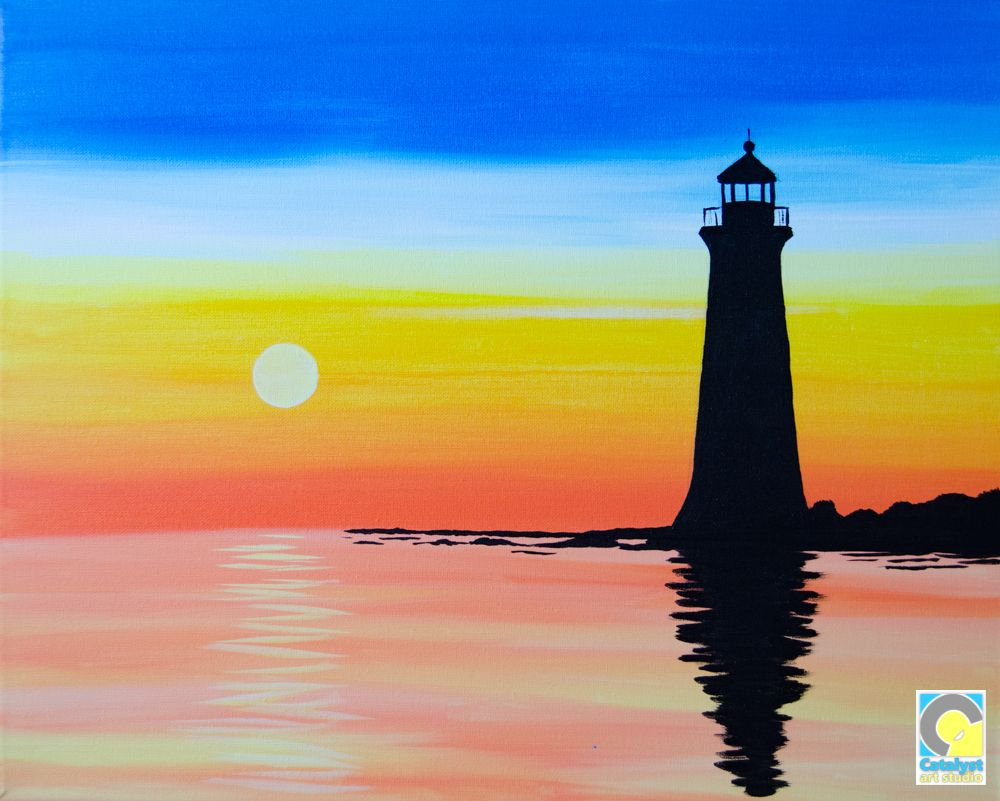 Lighthouse Silhouette Paint and Sip Party | Drawings/Painting ...