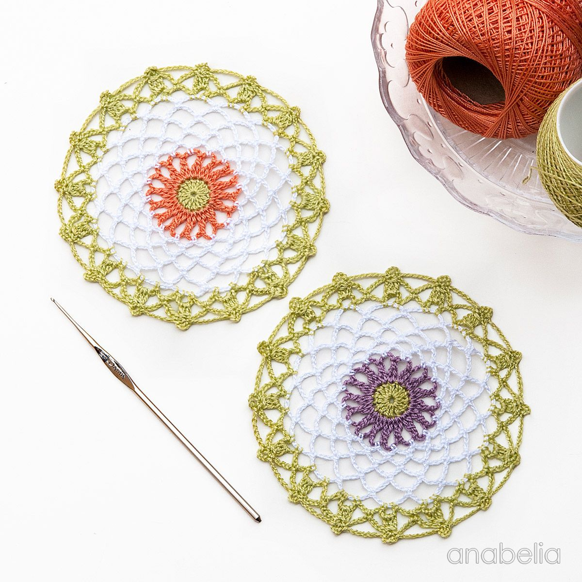 Mini crochet doilies free pattern, Anabelia Craft Design | tejidos ...
