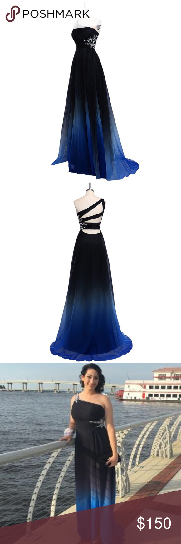 Black blue ombré prom dress silver sequin prom and dress prom