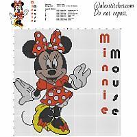 Disney Minnie Mouse character big size cross stitch pattern 149 x 149 stitches 7 DMC threads