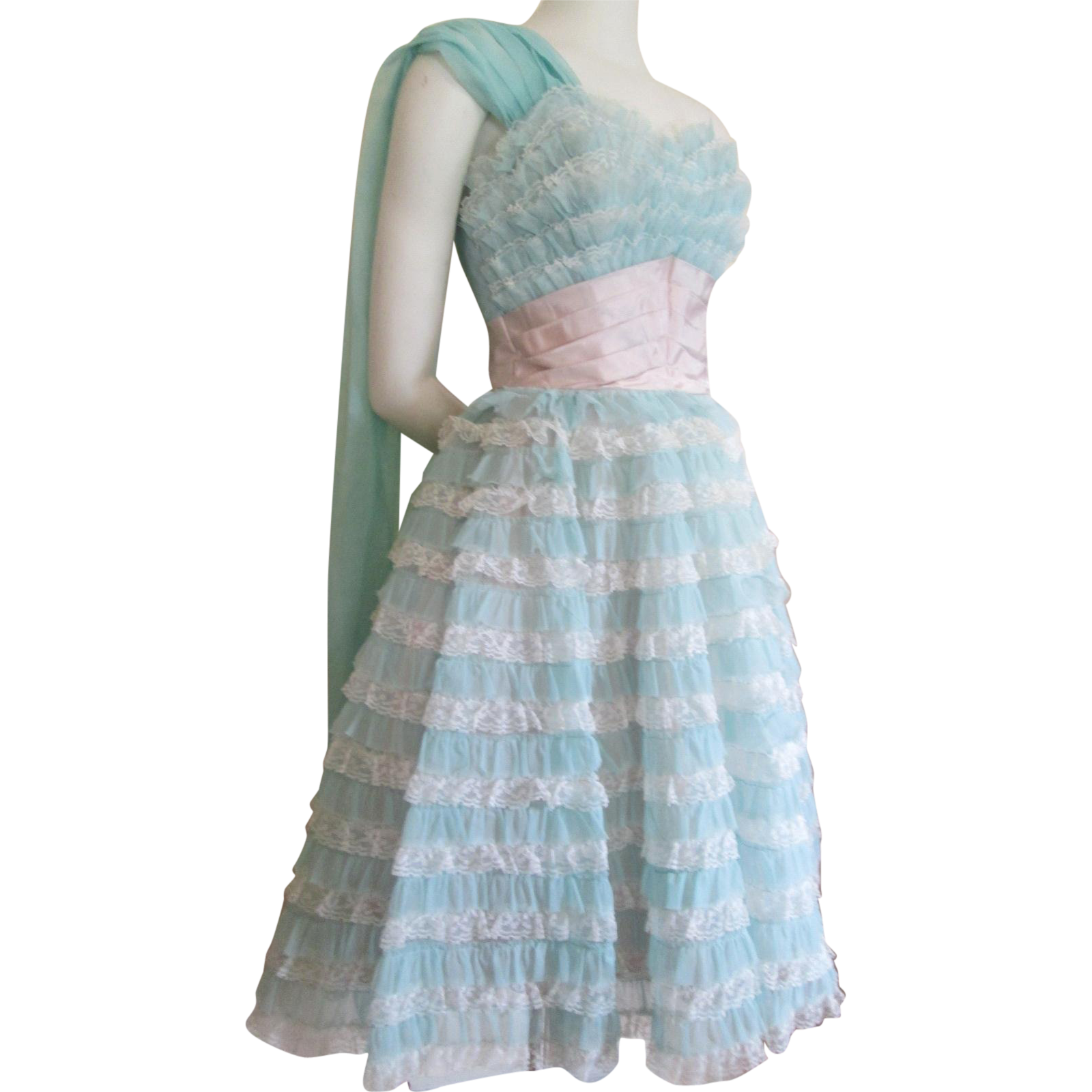 Vintage 1950s Party Dress Teal Blue Nylon Lace Ruffles Cummerbund ...