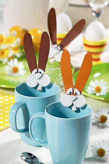 Osterhasen Aus Wäscheklammern Basteln Osterbasteleien Pinterest