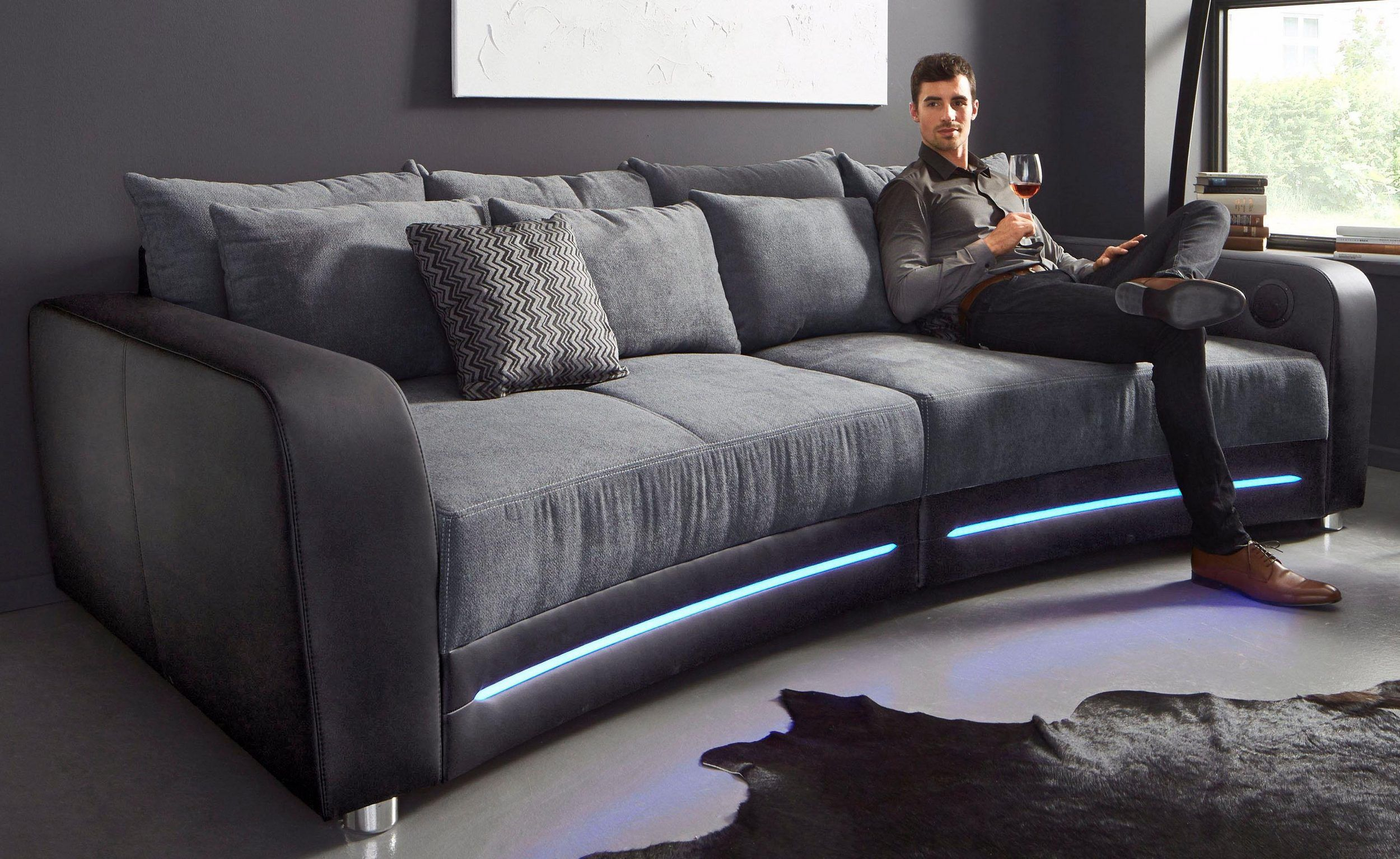 Jetzt 50 Reduziert Big Sofa Inklusive Rgb Led Beleuchtung Big Sofas Sofa Modern Couch