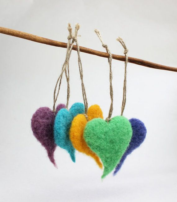 Valentine's Day Gift Five Fluffy  Hearts  by FeltArtByMariana, $30.00
