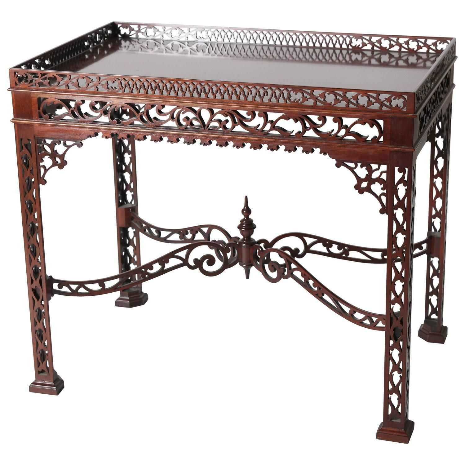 Baker Furniture Mahogany Fretwork Chinese Chippendale Tea Table