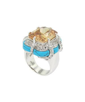 Look what I found on #zulily! Silver & Champagne Cubic Zirconia Cushion Cut Cocktail Ring by Alljoy #zulilyfinds