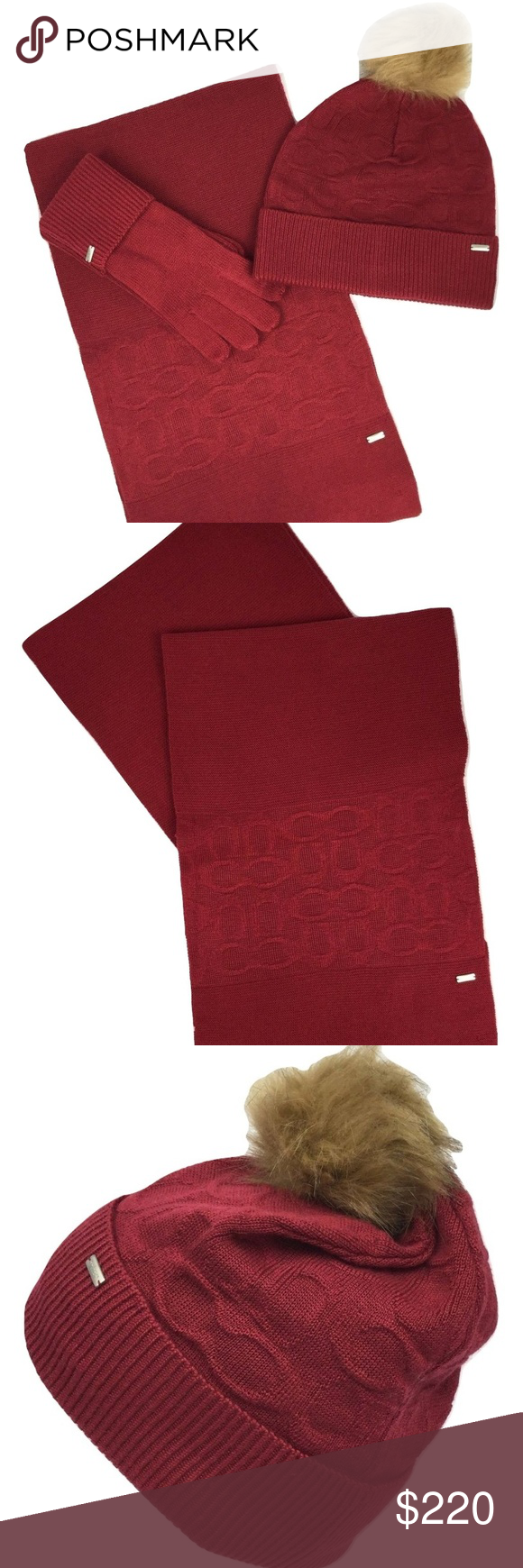 2206e2913 Coach Embossed Soft Red Scarf, Hat, Gloves Set SHIPS WITHIN 24 HOURS! 100