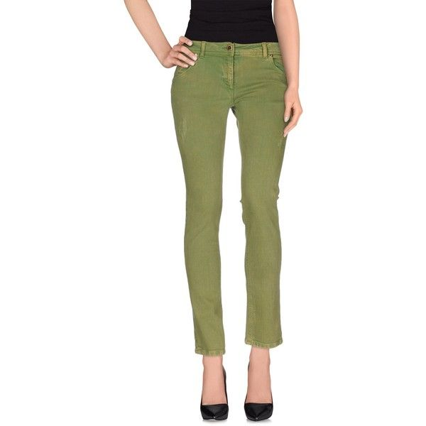 Roccobarocco Denim Trousers (€125) ❤ liked on Polyvore featuring pants, green, green pants, zip pants, green denim pants, denim pants and straight leg pants