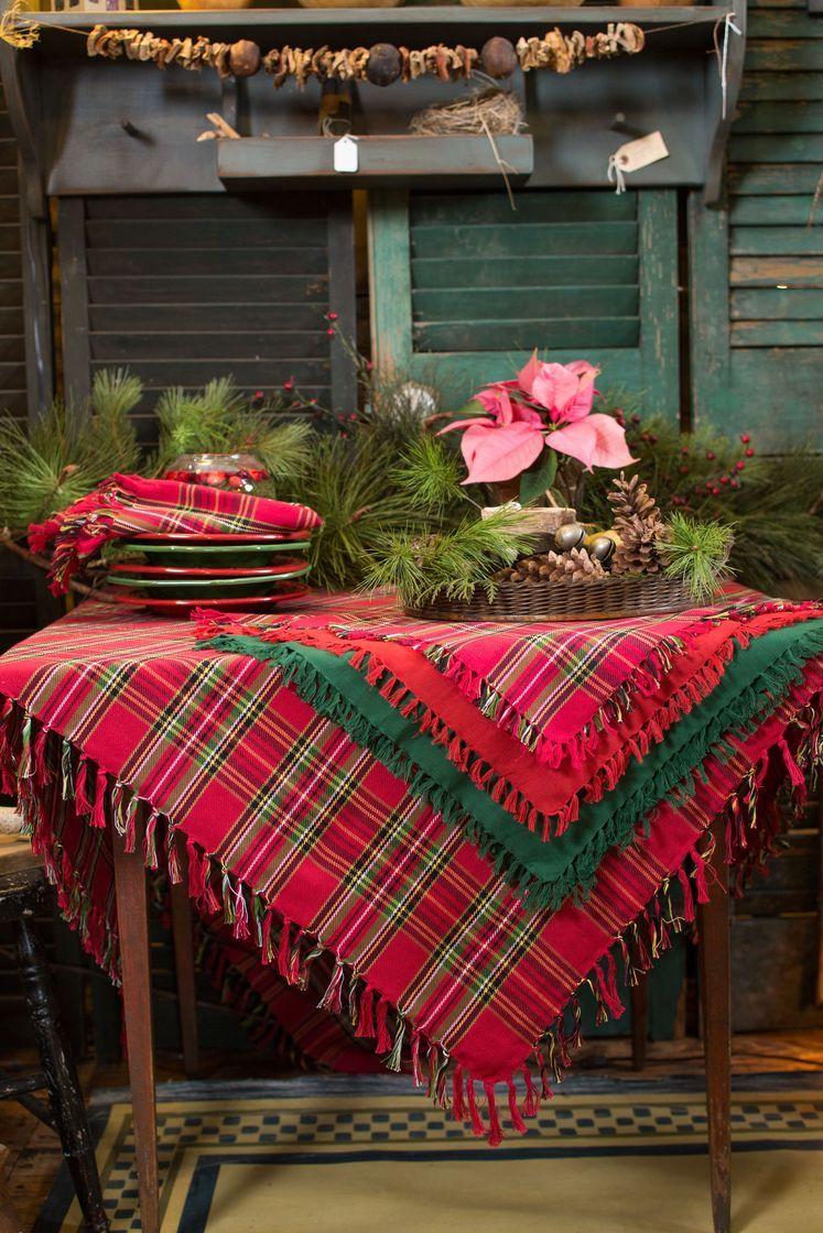Square Table Cloth Tartan Plaid Cotton Print By April Cornell