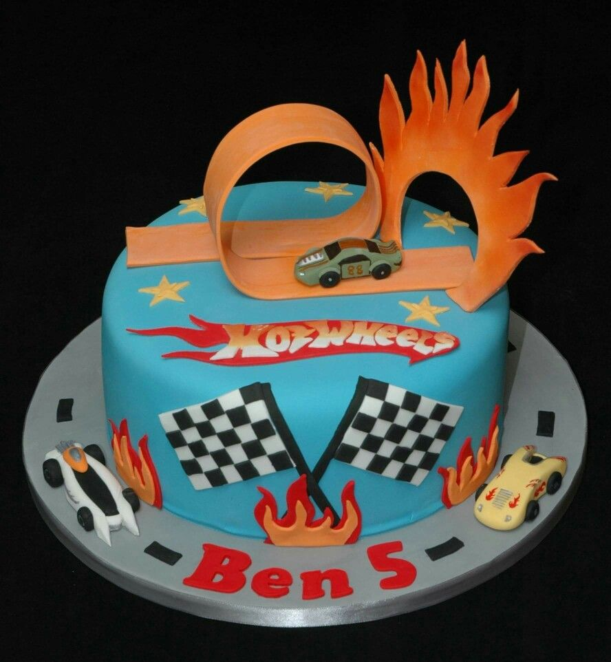 Hot Wheels birthday cake with loop the loop track and Hot Wheels