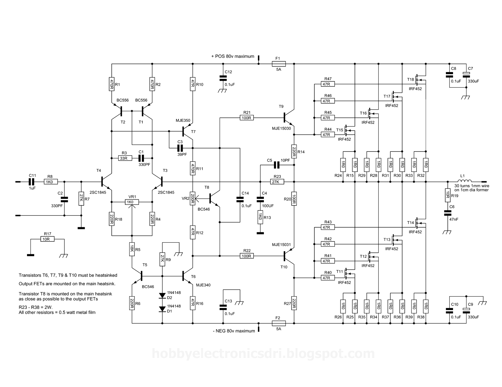 2000w Power Amp Ocl Circuit Using Sanken Component Hobby Electronics Schematic Pdf Nmos400sche Tube High Williamson Ta7205 Marshall For Thomas 820 Organ 12au7 Guitammer Buttkicker