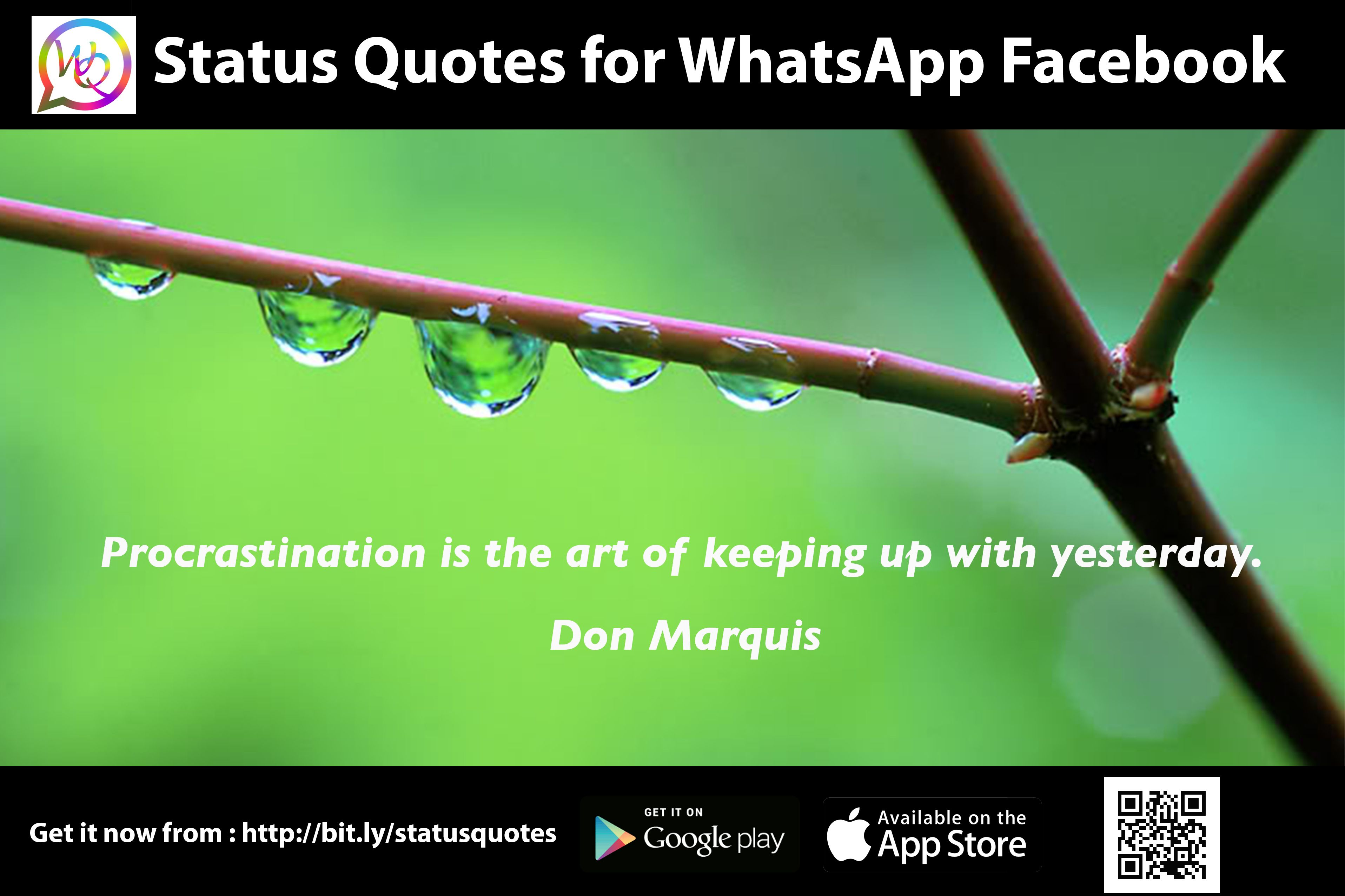 Procrastination is the art of keeping up with yesterday. - Don Marquis