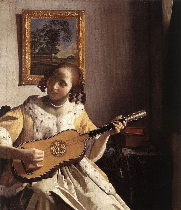 THE GUITARIST GUITAR PLAYER MUSIC 1755 FRENCH PAINTING BY JEAN BAPTISTE GREUZE ON CANVAS REPRO