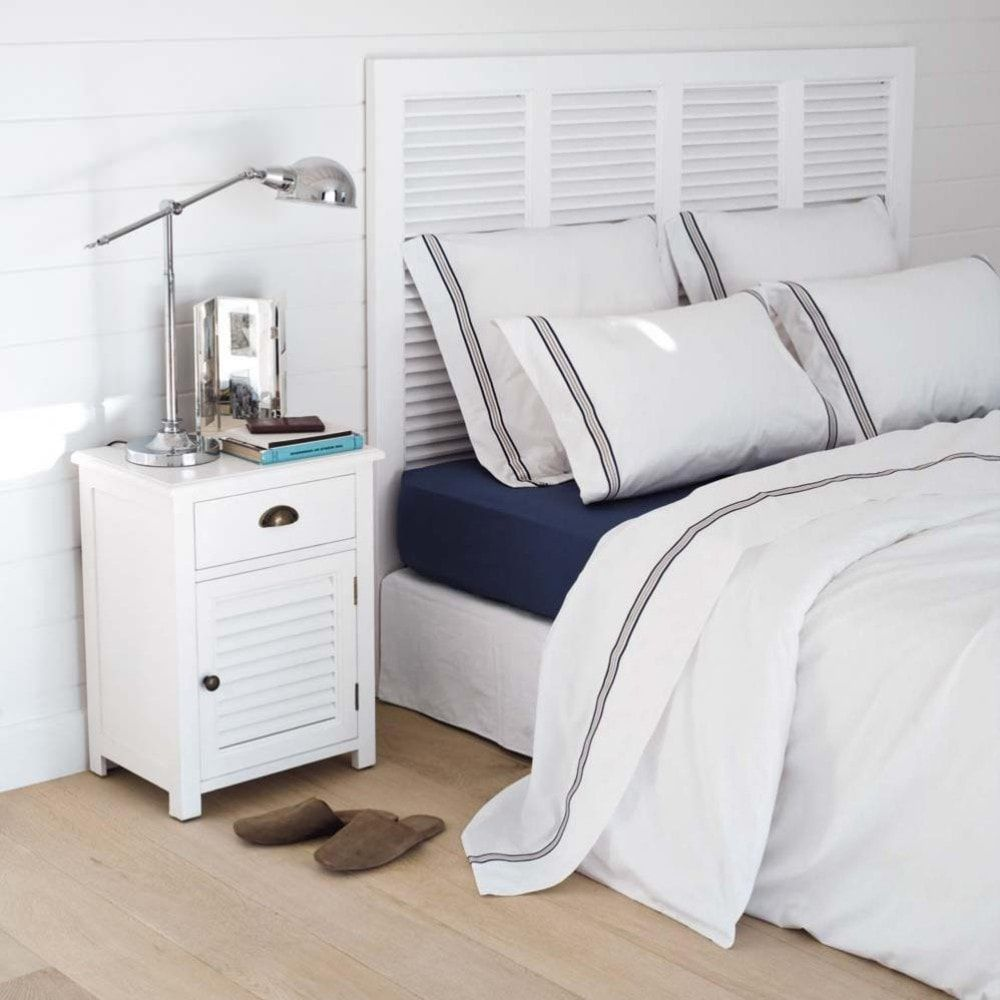 Mesita de noche con cajón de madera blanca 45 cm de largo   Mesita ...