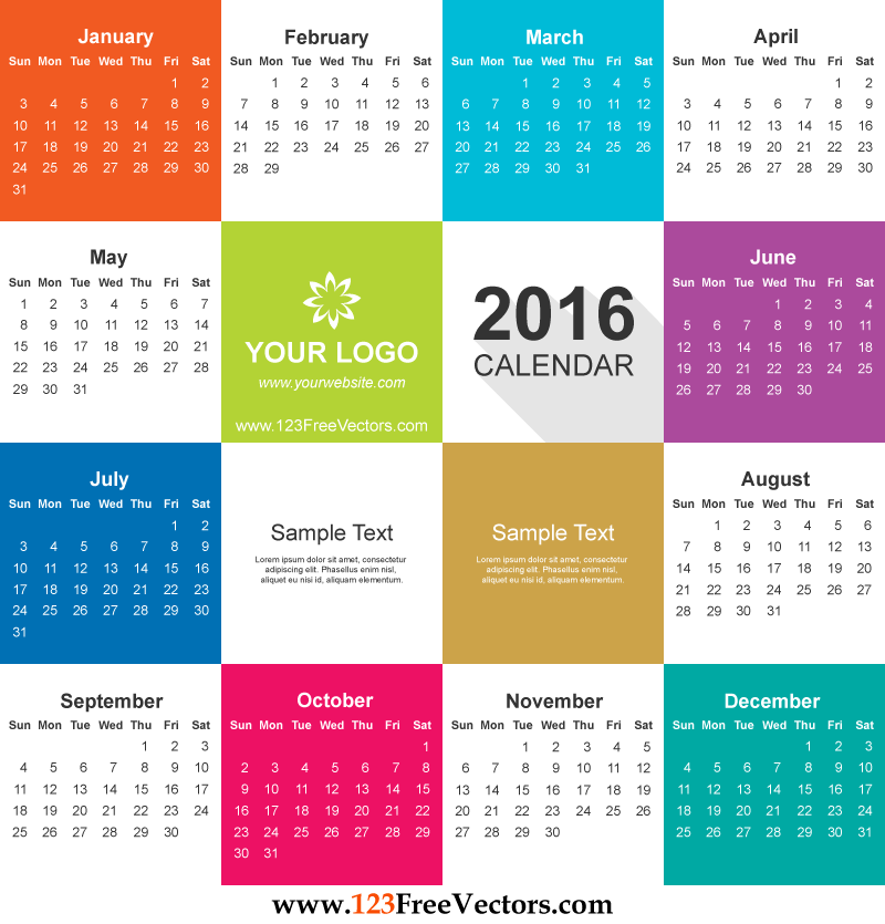 2016 Calendar Vector Free Download | Free Vectors | Pinterest ...
