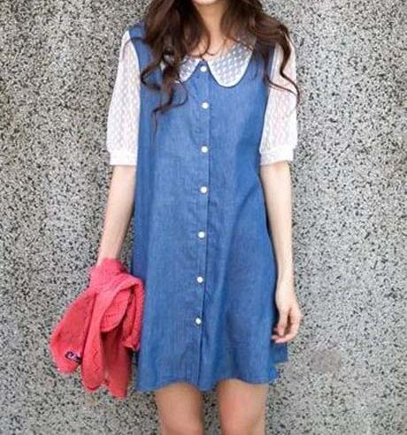 Peter Pan Collar Half Sleeved Denim Casual Dress
