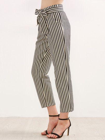 108c9ac338 Pantalones a rayas verticales con lazo en la cintura