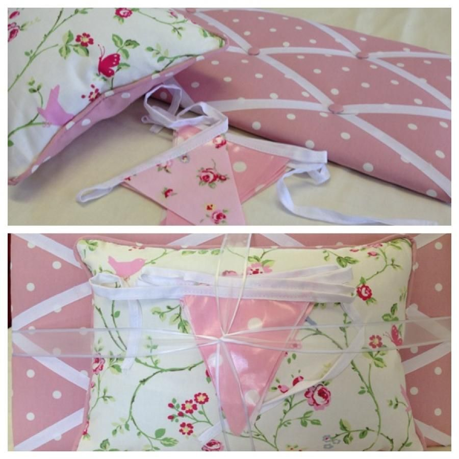 """23 October - Today's favourite lot - """"pretty up"""" your bedroom with this beautiful handmade gift set: message/memory board (size 12 x 20 inch), reversible cushion, and a matching 9 flag bunting. All made in lovely pink spots and floral print. Perfect as a gift for a loved one, friend, or great for student accommodation!! On sale at a special introductory set offer of £28.50 (worth £32.00).  Please visit Vintassion Seller's Stall """"Vivienne Rose"""" www.vintassion.com/stall/Vivienne+Rose"""