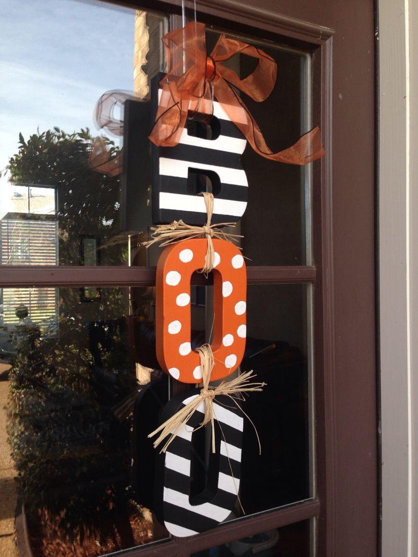 Halloween Door decoration using cardboard letters from Joanne\u0027s Boo - door decoration halloween