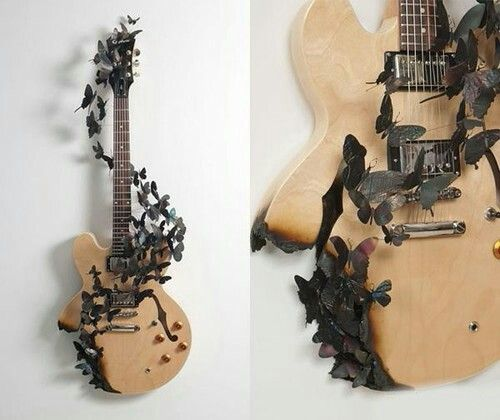 Imagen de guitar, butterfly, and music