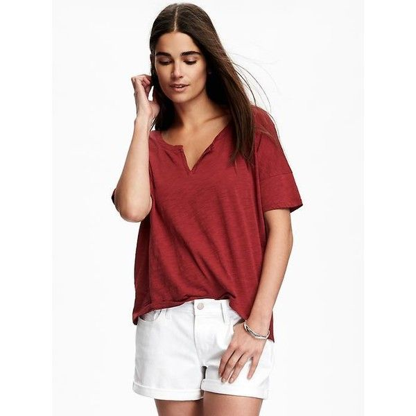 bde8ed73 Old Navy Split Neck Boyfriend Tee For Women ($15) ❤ liked on Polyvore  featuring tops, t-shirts, sick beets, crewneck tee, fitted v neck t shirts,  boyfriend ...