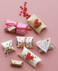 DIY Valentines Pillow Boxes made from Toilet Paper Tubes