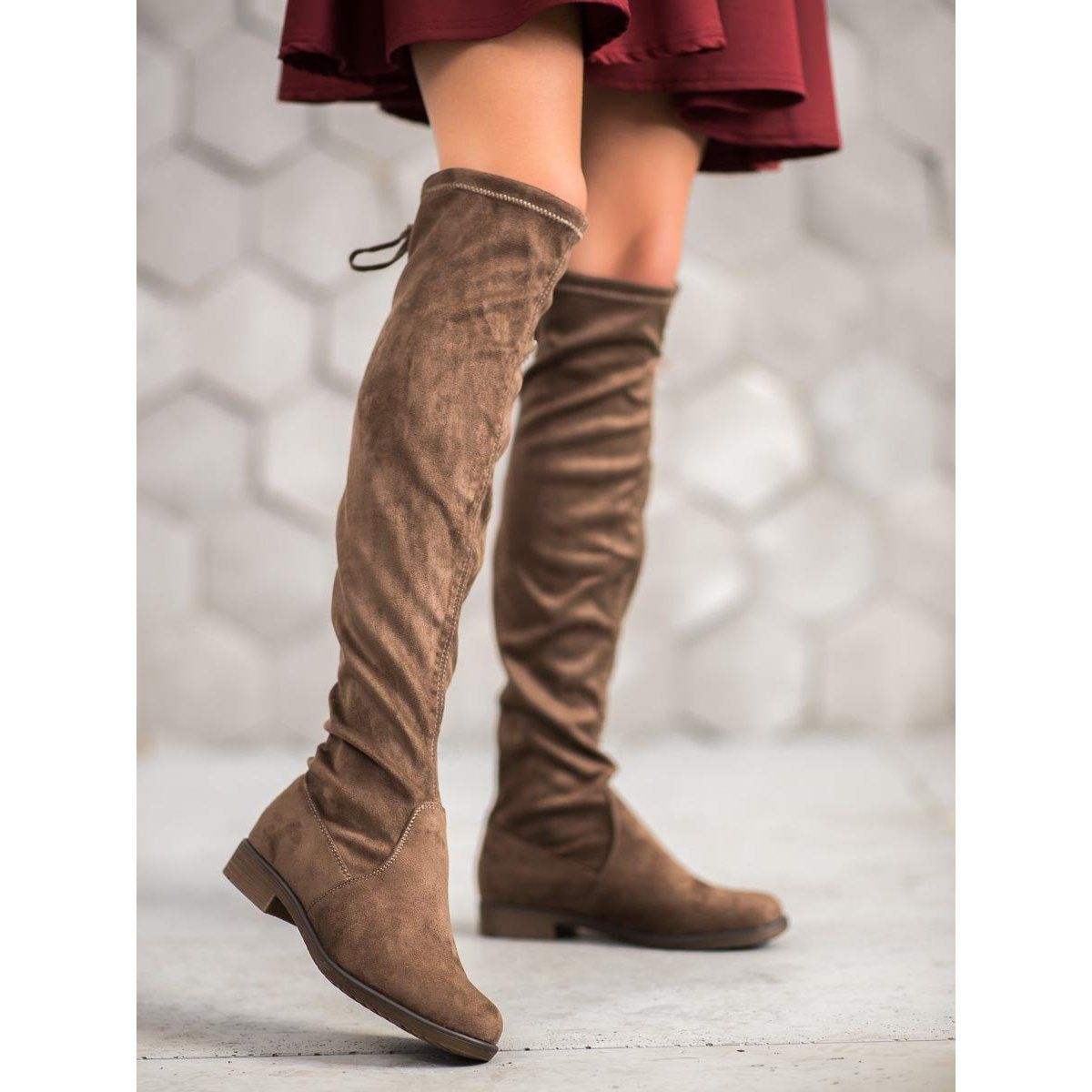 J Star Zamszowe Muszkieterki Z Wiazaniem Brazowe Thigh High Boots Thigh High Suede Boots Boots