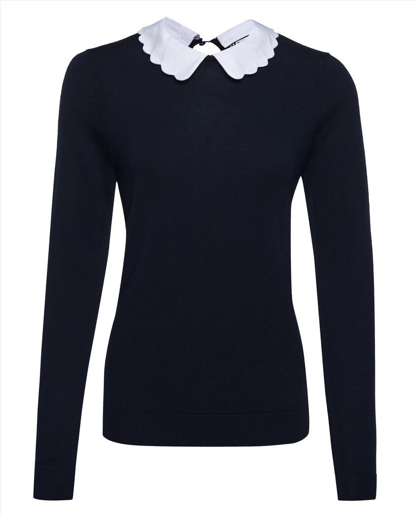 Wool Scallop Collar Sweater
