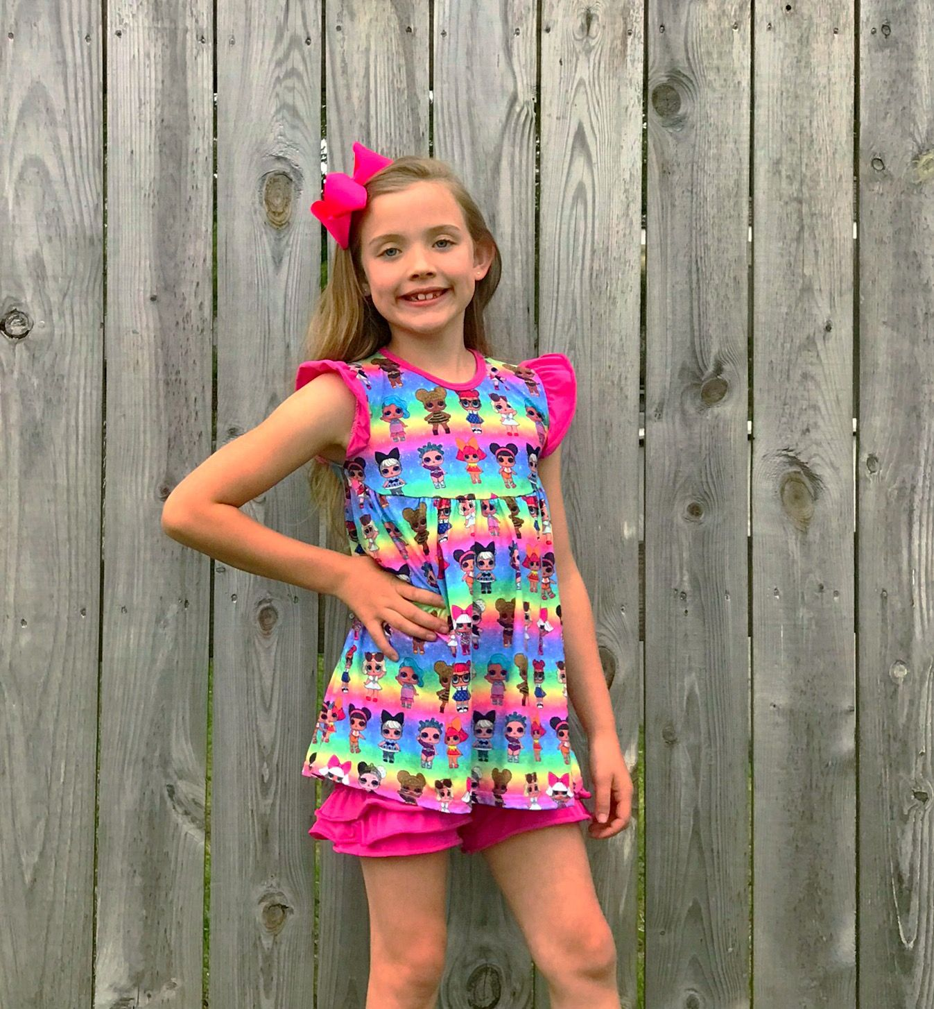girls toddler boutique ruffle shorts with LOL dolls tunic outfit set