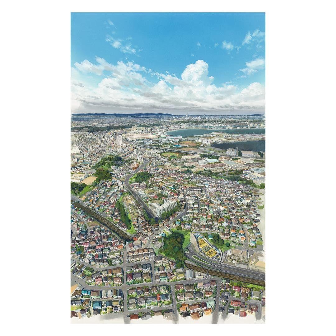 スタジオ地図 On Instagram 未来のミライ 横浜市磯子区近辺の背景画です 2008年の上空からのものです 住宅が増え街並みとして現在と近いものとなっています 背景美術 未来のミライ 2018 年 紙 ポスターカラー 色鉛筆 未来のミライ展 背景画