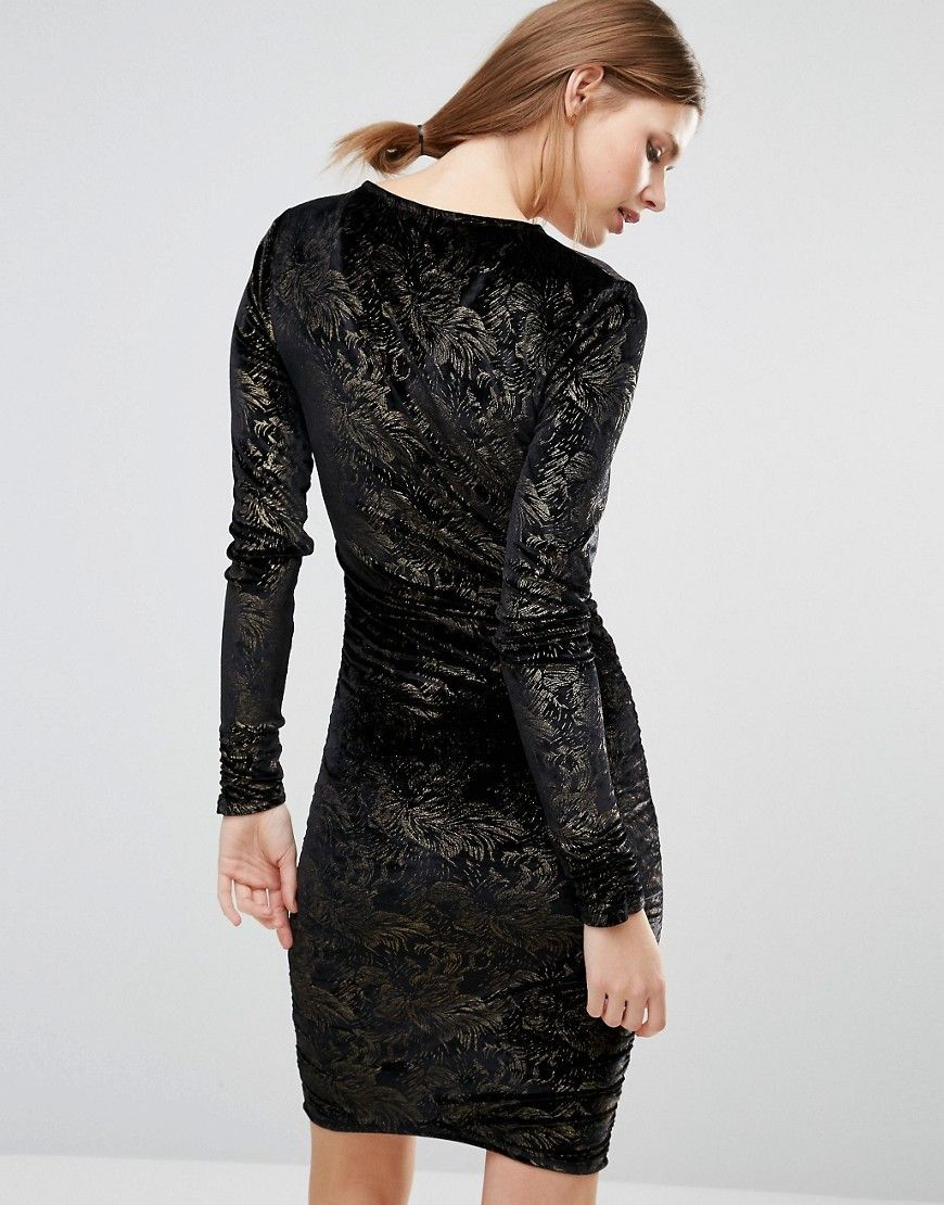 New look tall velvet foil ruched bodycon dress black products