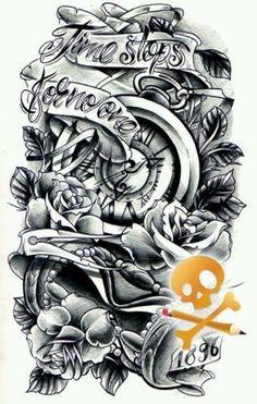 Resultado De Imagen Black And Gray Half Sleeve Tattoos Clocks