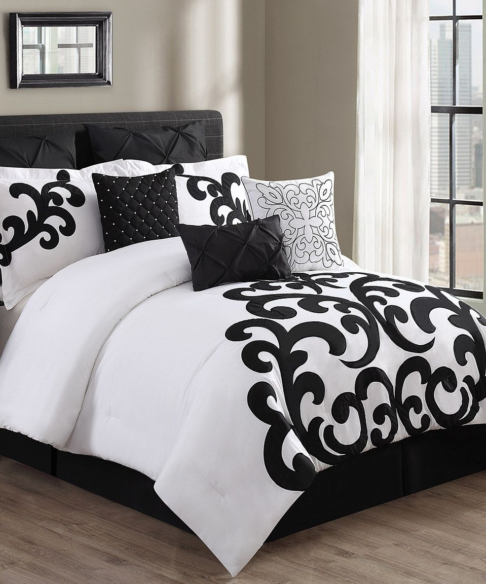 This Black & White Empress Comforter Set by S.L. Home