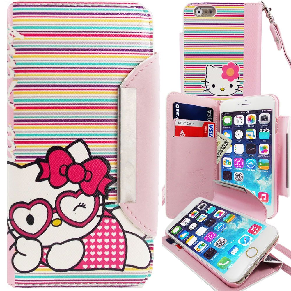 fd76661c4 Pink Hello Kitty PU Leather Stripes Wallet Case for Apple iPhone 6S Plus  Cover #UnbrandedGeneric