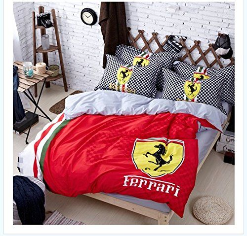 Red Black White Ferrari 4 Piece Queen Duvet Set Cotton 600 Thread Count
