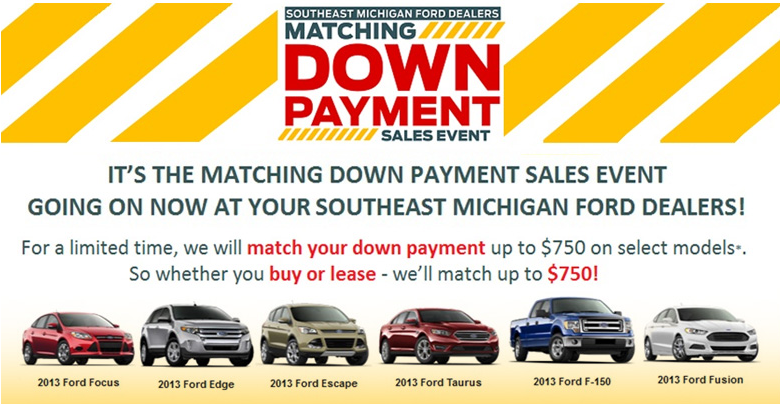 Ford Matching Down Payment Sales Event Down Payment Sale Event