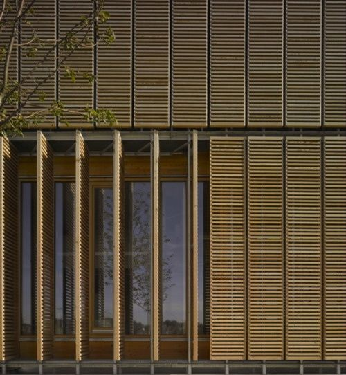 Aalen university extension mgf architekten window for Sliding timber screens