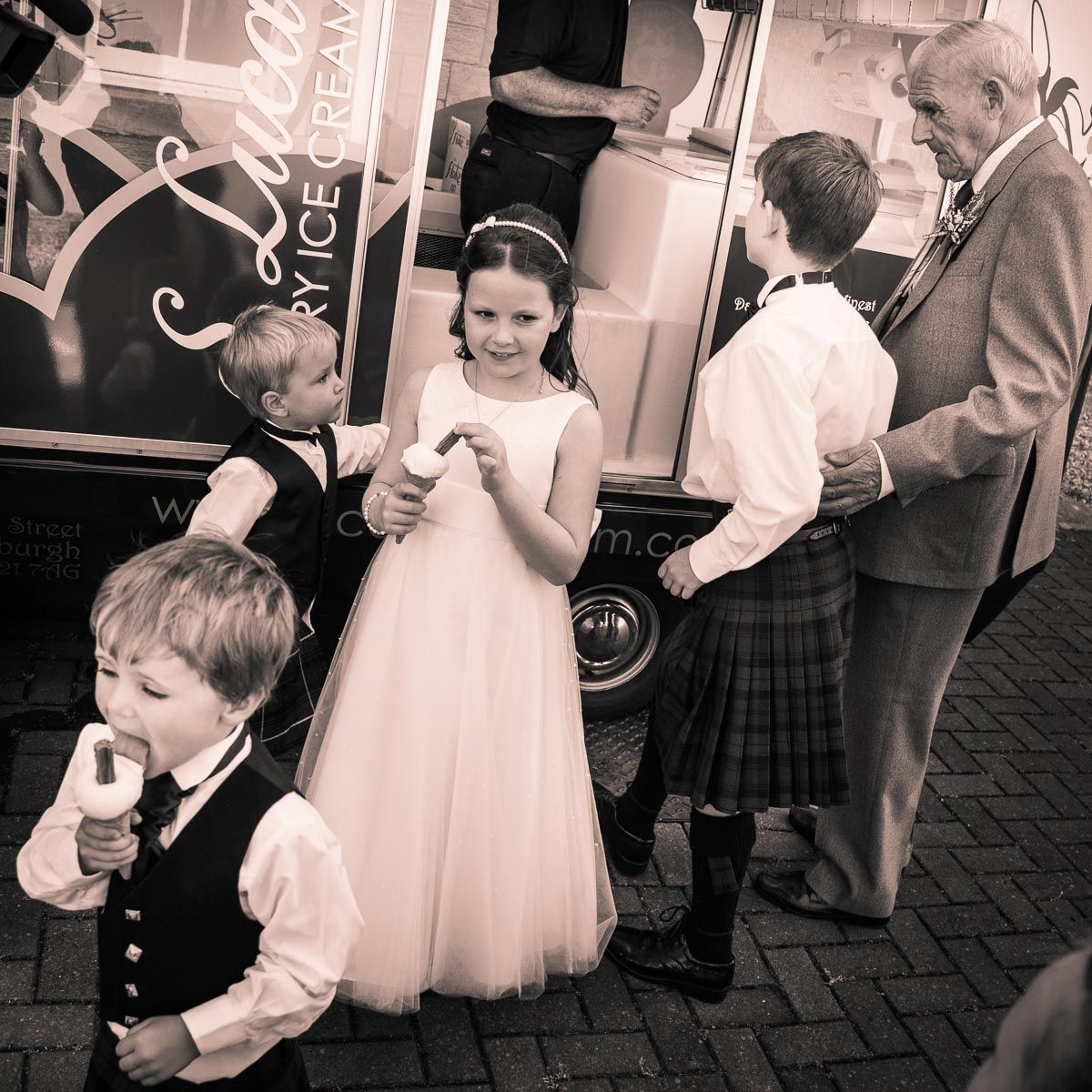 Design your own wedding dress scotland  Flower girl and page boys at the ready Lovely Scottish wedding at