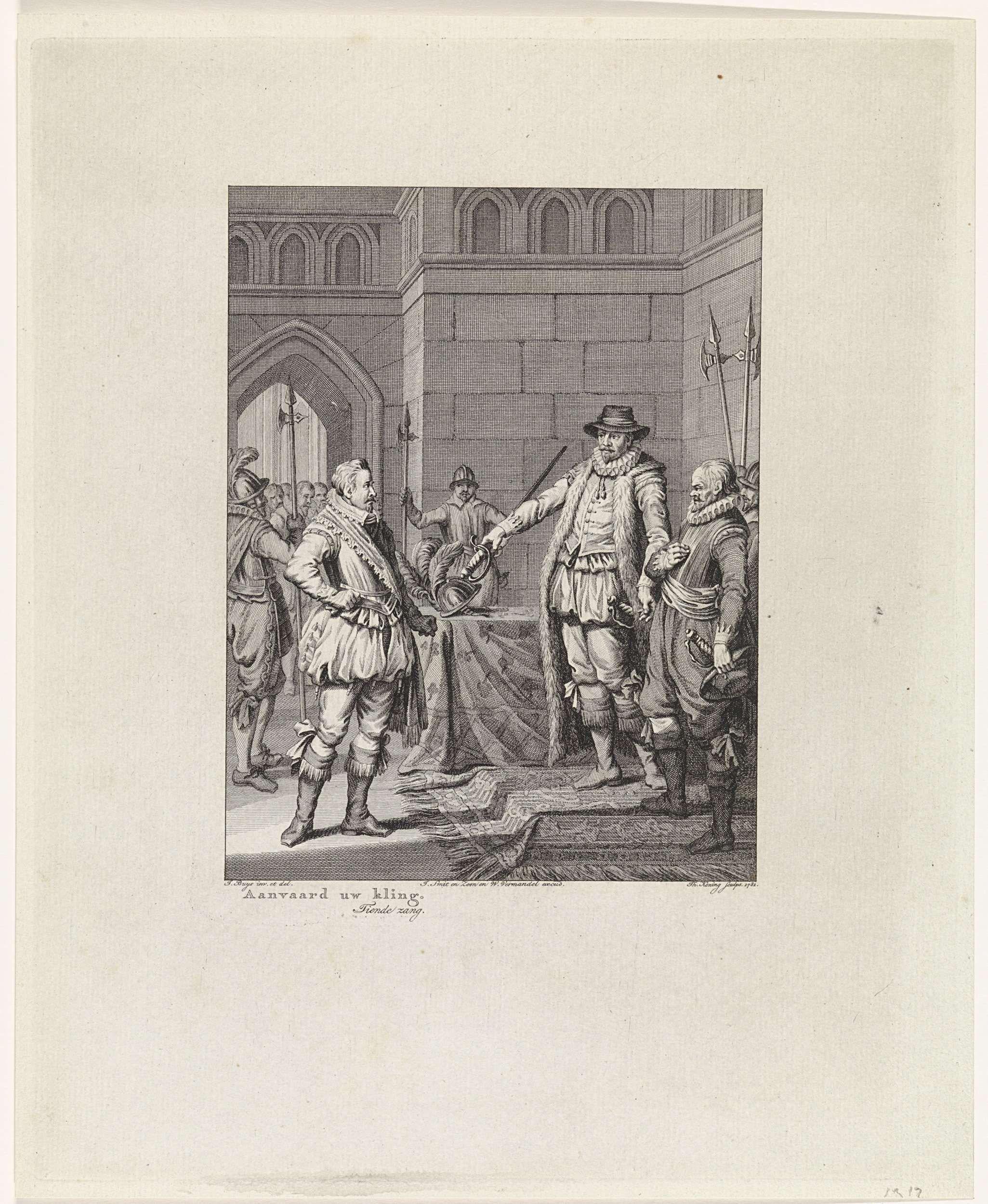 Theodoor Koning | Oranje geeft Bossu te Hoorn zijn zwaard terug, 1573, Theodoor Koning, Johannes Smit & Zoon, Willem Vermandel, 1781 | Willem van Oranje geeft Bossu te Hoorn zijn zwaard terug, 1573. Deze prent maakt deel uit van een serie van 24 prenten met taferelen uit het leven van prins Willem I, 1568-1584 en is een illustratie bij de tiende zang.